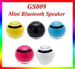 Wholesale fit ball mini - High Quality GS009 speaker Mini speaker Ball Shaped Portable Bluetooth Wireless Speaker Handsfree Speaker with Blue LED Light Fit iphone 7