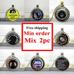 Wholesale Jewelry Lenses - Wholesale-Wholesale glass photo pendant necklace Camera Lens Necklace Photographer Silver Jewelry Gift Glass Cabochon Necklaces