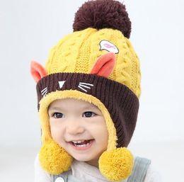 Wholesale Knitted Animal Hats For Kids - Cute Baby Winter Hat Warm Infant Beanie Cap For Children Boys Girls Animal Cat Ear Kids Crochet Knitted Hat