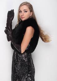 Wholesale Lambs Skin Leather - women's 47cm plain stylish kid leather gloves lamb skin long gloves dark brown