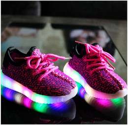 Wholesale Sports Outdoors Wholesale - 2016 New LED kids sport shoes Running Snakers Childrens Fashion sport Shoes 3colors