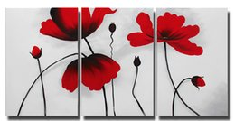 Wholesale Wall Decor Framed Canvas - Lotus Flower Canvas Painting Wall Decor 3 Panel Red Flower Oil Painting Modern Home Decoration Ready to Hang 40x60CMx3pcs