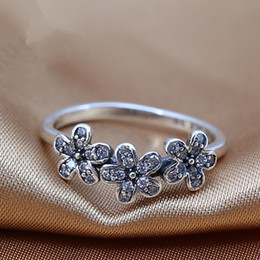 Wholesale Engagement Ring European Charm - 2016 charms rings s925 ale sterling silver luxury flower print carved band rings with The European and American style rings hot sales