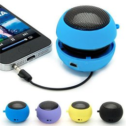 Wholesale Computers Portable Sale - Top Sale New Mini Speaker Portable Hamburger Speakers For iPhone 5 6 For iPad For Samsung PC Latop Tablets 4 Colors 3.5mm Plug