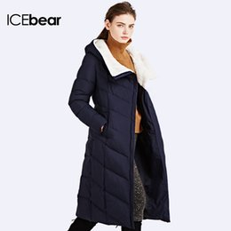 Wholesale Solid Woven Cotton Belt - Wholesale-ICEbear 2016 Long Wool Hooded Solid Winter Jacket Coat For Women Down Coats Brand Parka Sent Belt Women's Cotton Jackets