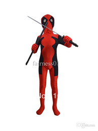 Wholesale Kids Latex Costume - Wholesale-Nice Fashion children deadpool costume fullbody red black kids deadpool costumes for halloween party show