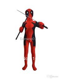 Wholesale Latex Fashions For Kids - Wholesale-Nice Fashion children deadpool costume fullbody red black kids deadpool costumes for halloween party show