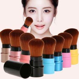 Wholesale Retractable Blusher Brush - Mini Retractable Makeup Brush Portable Face Powder Contour Foundation Blusher Brush Professional Soft Cosmetic Beauty Tools CCA7702 100pcs