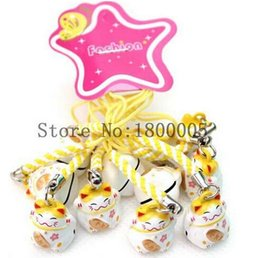 Wholesale Lucky Cats For Sale - 50 pcs yellow  white Maneki Neko Lucky Cat Charms Keychain Handbags Cell Phone Straps Charm with Bell For Sale
