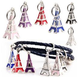 Wholesale Pandora Eiffel Tower Charm - Wholesale Metal Alloy Beads the Eiffel Tower Design Enamel Charms for Pandora Chain Bracelet Best Christmas Gift