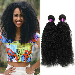 Wholesale Afro Kinky Human Hair Extensions - 4pcs Mongolian Brazilian Kinky Curly Hair Weave Bundles Afro Mongolian Kinky Curly Human Hair Extensions Brazilian Kinky Curly Hair Wefts