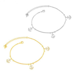 Wholesale Womens Anklets Charms - Brand New Top Fashion Crystal Anchor Pendant Charm Bracelets 18K Gold Womens Dainty Anklets 2 Colors Mix Cheap Wholesale