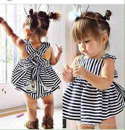 Wholesale Double Breasted Shorts - 2015 New style Striped Vest Dress Sets Lace Pattern Bowknot Top+Pants Baby Girls Clothes Children's Costumes Princess Dresses Free Ship