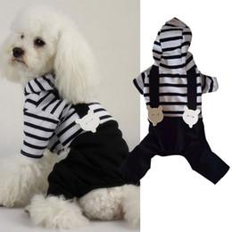 Wholesale Xxl Dog Jumpsuits - Hot Pet Dog Cats Hoodie Striped Black Pant Jumpsuit Puppy Clothes Apparels S-XXL