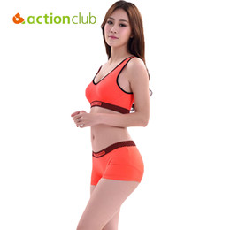 Wholesale Nylon Running Vest - Wholesale-Actionclub Running Shorts With Sports Bra Tank Yoga Clothing Suits Fitness Clothing Vest Tracksuit Set Sportswear Workout SY108