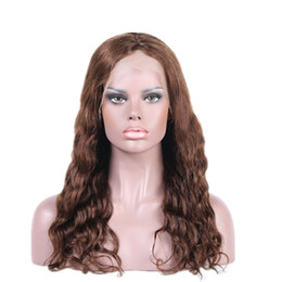 Wholesale Cheap Long Wavy Wigs Black - Brazilian Virgin Human Hair Wigs Medium Brown Swiss Lace Long Full Lace Wigs & Lace Front Wigs for Cheap LX001