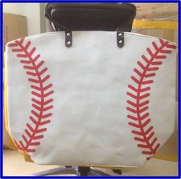 Wholesale Tote Bags For Woman Wholesale - wholesale stitching bags baseball women & Kids Cotton Canvas Sports Bags Baseball Softball Tote Bag for Children