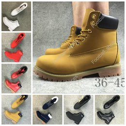 Wholesale Boots Flats Fashion - Top Band 10061 Yellow Boot Fashion Boots Leather Waterproof Men Women boots Work Boot for Camping Hiking Shoes Work Boots 6 color EUR36-46