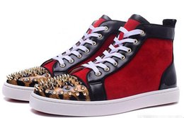 Wholesale Men Leopard Tops - New 2017 wholesale New mens gloden spikes leopard toe with red suede red bottom high top sneakers,designer brand top quality flat causal s