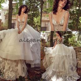 Wholesale Sexy Eve - Eve of Milady 2018 Luxury Crystal Wedding Dresses Sexy V-neck Sweep Train Princess A-line Garden Church Bridal Wedding Party Dress