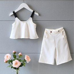 Wholesale Tank Tops For Girls Kids - new 2016 Summer Girls Clothing Set Fashion white sling Tank Tops+Wide Loose Leg Pants Suit Kids Clothes Set for Girls