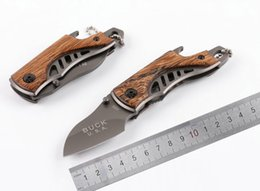 Wholesale Titanium Plate Camp - Samior Buck Small X65 5cm Drop Point Gray Titanium Plated 5CR15MOV Blade Wenge Wood Handle With Bottle Opener Keychain Folding Pocket Knives
