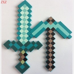 Wholesale Action Sword - Collocation 45 -60cm Newest Minecraft Toys Colorful Minecraft Sword Foam Action Figures Toys Children Foam Sword &Pickaxe Toys