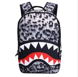 Wholesale Cool Mouth - 2017 New Fashion Leopard Shark Mouth Backpacks For Teenagers 18 Inch Travel Backpack Kids School Bags Cool Laptop Bag Mochila