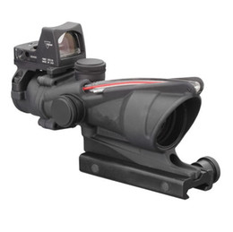 Wholesale Tactical Illuminated - Tactical Trijicon Style 4X32 Real Fiber Source Duel Illuminated Sight Scope RMR Micro ACOG Style Rifle Scope With Micro Red Dot