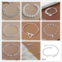Wholesale Sterling Silver Bead Strands - Matte beads heart bell sterling silver bracelet 8 pieces mixed style GTB1 Brand new high grade fashion women's 925 silver bracelet