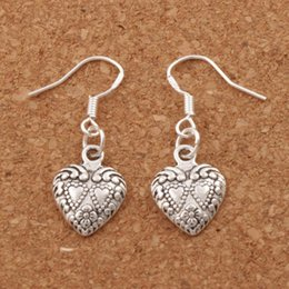 Wholesale Numbered Alphabet - Double Dots Hearts Earrings 925 Silver Fish Ear Hook 40pairs lot Antique Silver Chandelier E907 11.5x32mm