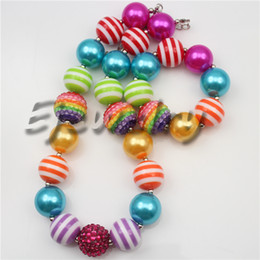 Wholesale Chunky Chain Bead Necklace - fashion jewelry Multicolor stripe beads necklace Rainbow rhinestone beads chunky bubblegum necklace&bracelet set CB737