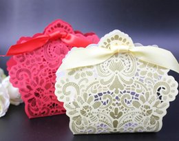 Wholesale Ivory Paper Box - 100Pcs Hollow Flower Candy Box Red or Ivory Birthday Wedding Party Favour Chocolate Gift Boxes Unique Design New