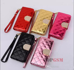 Wholesale Bling S3 Mini Case - For iPhone 6 4.7inch 5s 4s 5c galaxy S3 S4 S5 mini Luxury diamond bling Wallet PU Leather Case With Card Holders Photo Frame mix color