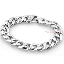 Wholesale Heavy Silver Chains For Men - Hot Sale The New Punk Style Silver Gold 316L Stainless Steel Mens Bracelet Heavy Metal Chain Jewelry Bracelets For Men