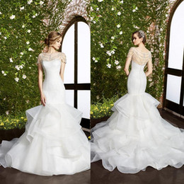 Wholesale Moonlight Silver - Illusion Moonlight Mermaid Wedding Dresses With Tiered Skirts Jewel Neckline Beaded Organza Bridal Gowns Floor Length Tulle Wedding Gown