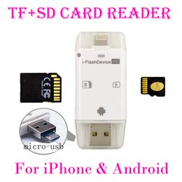 Wholesale Tf Card Sdhc - 3 in 1 iFlash Drive USB Micro SD SDHC TF Card Reader Writer for iPhone5 5s 6 6s plus ipad All Android Phones