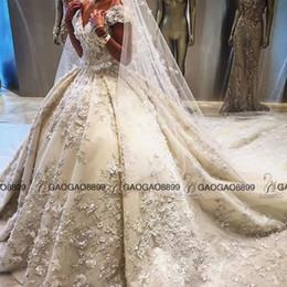 Vestido de casamento incrível de luxo on-line-Ziad nakad 2019 luxo 3d floral detalhe vestido de baile vestidos de casamento surpreendente frisado médio oriente saudita princesa vestidos de casamento real