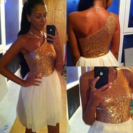 Wholesale Cocktial Dresses - 2016 Short Mini Prom Dresses One Shoulder Sequined Gold And White 8th Grade Graduation Cocktial Party Gown Homecoming Dresses Cheap 2015