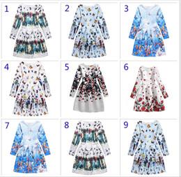 Wholesale Designing Baby Dresses - 9 Design Big girl princess butterfly dress Free DHL Children fashion Cartoon Print long sleeve Dresses baby Clothing B001