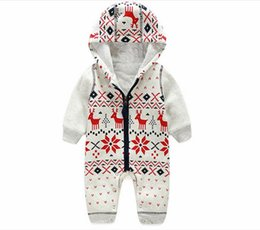 Wholesale Baby One Piece Hoodie - 2016 Newborn Christmas Deer Baby Boy Warm Infant Rompers kids winter&autumn long sleeve Hoodie Infant Jumpsuit one piece rompers clothing