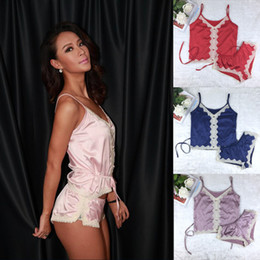 ночное белье пижама  Скидка Wholesale- Big  NX  Imitation Satin Women Short Pajama Set Sexy Lace Pajamas Suit Silk Thin Hot Women Night Wear Clothes 5 color