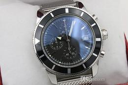 Wholesale Mens Clasp Belt - Luxury brand Mens superocean heritage 46 chronometer Date Quartz leather Sport Chronograph Watch Men belt floding clasp Dive WristwatchLuxur