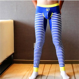 Wholesale Thin White Mens Underwear - Wholesale-Men long johns mens warm pants thin elastic line of men's fashion cotton sexy gay underwear tight legging long Johns