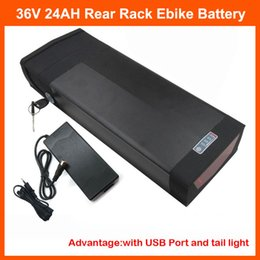Wholesale 5v 2a Battery - 1000W 36V Electric Bike lithium battery 36V 24AH Rear rack battery with 5V USB Port 30A BMS 42V 2A charger free shipping