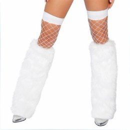 Wholesale Sexy Costume Furry - Wholesale-New White Black Lady Leg Warmers Ankle Covers Sexy Women Faux Fur 40cm Boots Shoes Cover Furry Soft leg Ankle Christmas Costume