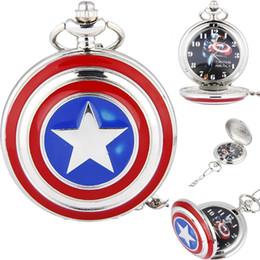 Wholesale Wholesale Unisex Watches America - Fashion Silver Captain America Shield Pocket Watch with Icon Pendant Necklace Chain Quartz Men Women Gift