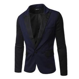 Wholesale Navy Cotton Blazer - 2016 Spring new fashion Panelled slim Men's suits A buckle Casual men's Blazers men's coats navy 4445