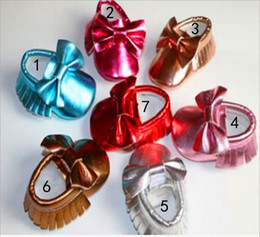Wholesale Bright Babies - 7 Color Baby bow moccasins soft sole PU leather first walker shoes baby newborn Bright gold bowknot texture shoes maccasions shoes B001