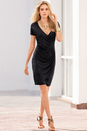 Wholesale Hot Club Clothes For Women - Hot Style For Femal Draped Clothes Pure Color Dress Black Red Dress Sexy Style Dress